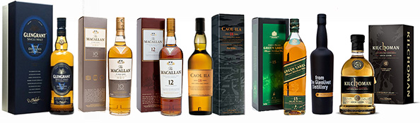 Famous Grouse 30, Macallan, Caol Ila 18, Johnnie Walker Green, Glenlivet Alpha, Kilchoman