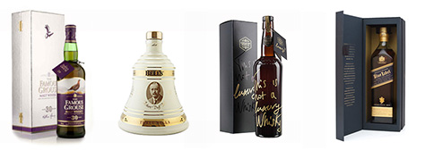 Famous Grouse 30, Bells Decanter, Compass Box, Johhnie Walker Blue